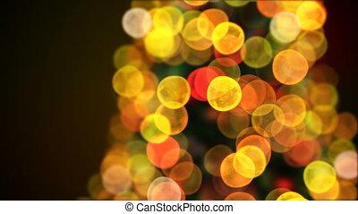 fait boucle, animation., année, card., concept., 3d, lumières, barbouillage, nouveau, noël, heureux, tourner, 3840x2160, bokeh., joyeux, hd, gros plan, animé, arbre, salutation, 4k, scintiller, ultra
