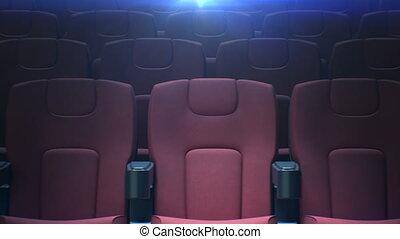 fait boucle, art, cinéma, seamless., dos, sièges, 3840x2160., rouges, rangées, média, concept., animation, vide, 3d, en mouvement, long, hd, hall., chaises, lumière, 4k, ultra