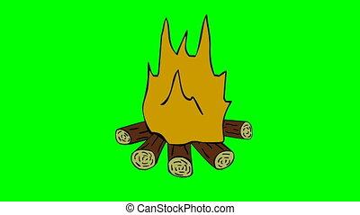 fait boucle, brûler, camp, chroma, écran, clef verte, animé