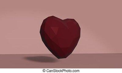 fait boucle, heart., bas, pulse., poly, animation, valentines, 3d, rouges, render, modèle, jour, coeur