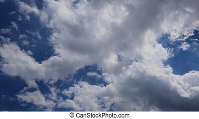 fait boucle, voler, ciel, animation, devant, côté