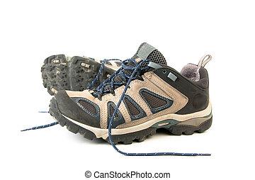 fait, chaussures, randonnée, imperméable, withe, isolé, bottes, cuir, fond, membrane, respirable, ou, vêtements