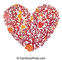 fait, coeur, isolé, coraux