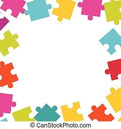 fait, coloré, cadre, puzzle, pieces., puzzle