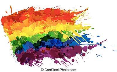 fait, coloré, gay, lgbt, drapeau, eclabousse, ou