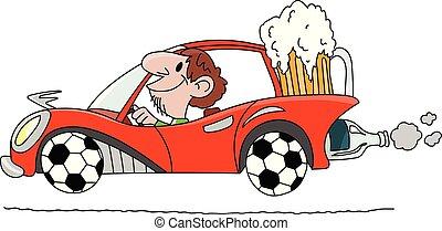fait, conduite, voiture, porter, balles, bière, illustration, verre, derrière, vecteur, grandes roues, football, dessin animé, homme