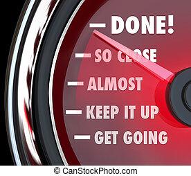 fait, destination, compteur vitesse, progrès, poursuite