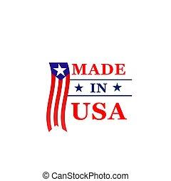 fait, drapeau etats-unis, vecteur, amérique, icône