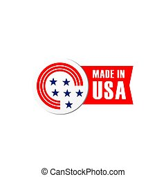fait, drapeau etats-unis, vecteur, bagde, icône