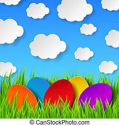 fait, eps10, coloré, printemps, résumé, ciel, illustration, clouds., herbe, vecteur, vert, papier, fond, oeufs pâques