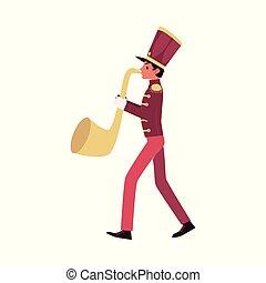 fait face, jeux, parade, bande, participant, joueur, saxophone, trumpet., ou, rouges, marcher