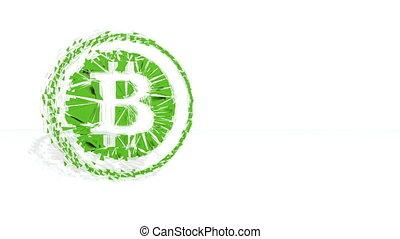 fait, financier, poligons., bitcoin, polygones, 2, arrière-plan vert, recueilli, picture., cercle, 3d, tourner, icône