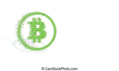 fait, financier, poligons., bitcoin, tourner, arrière-plan vert, recueilli, picture., cercle, 3d, polygones, icône