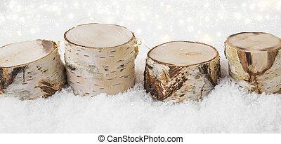 fait, fond, neige, lumières, bois, décorations, bouleau, noël