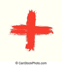 fait, grunge, isolé, main, cross., coup, brosse, fond, dessiné, croix