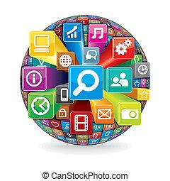 fait, icônes, média, sphère, informatique, social