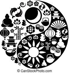 fait, icônes, symbole, yin, zen, yang