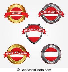 fait, illustration, étiquette, vecteur, conception, austria.