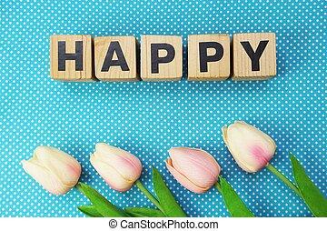 fait, lettres, bois, alphabet, cubes, mot, heureux