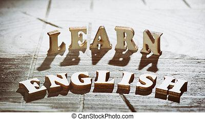 fait, lettres, bois, apprendre, anglaise, mot