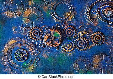 fait main, steampunk, rouage horloge, fond, dents, mécanique, roues