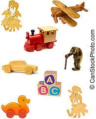fait maison, jouets, bois, collection, arrière-plan., vendange, blanc