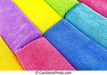 fait, matériel, empilé, couleurs, côté, côté, sommet, vue., différent, fond, microfiber