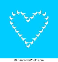 fait, mot, amour, symbole, pigeon, doves., blanc