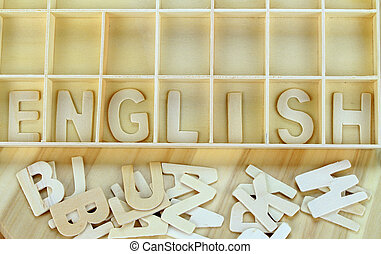 fait, mot, bois, alphabet, anglaise, lettres