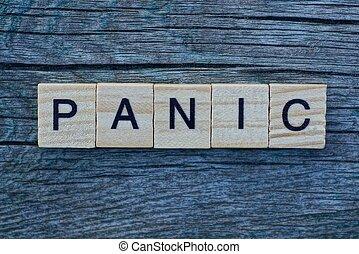 fait, mot, panique, lettres, bois
