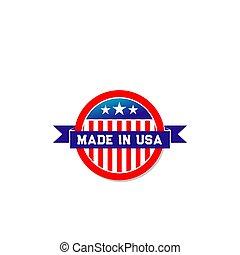 fait, usa, drapeau américain, vecteur, ruban, icône