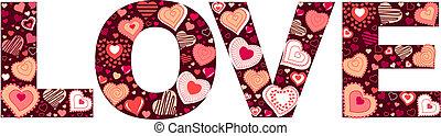 """fait, valentin, petit, cœurs, """"love"""", signe"""