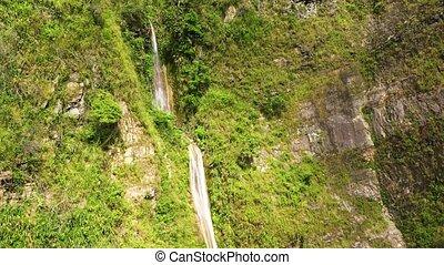 falaise, eau, élevé, waterfall., ruisseau, jungle.