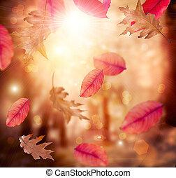 fall., feuilles, autumn., arrière-plan., automnal