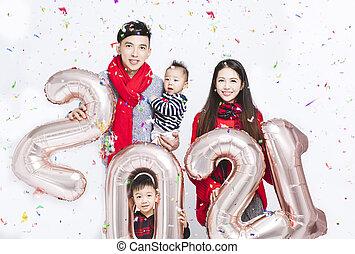 famille, 2021, heureux, nouveau, amusement, argent, année, signe, fait, ballons, avoir