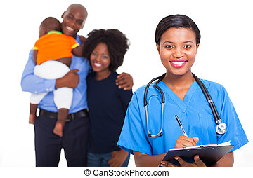 famille, américain, malades, africain femelle, infirmière