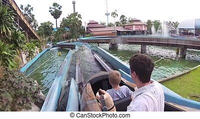 famille, aquapark, kanoe, bas, amusez-vous, glissement