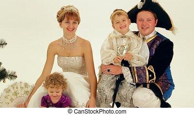 famille, aristocrats, heureux