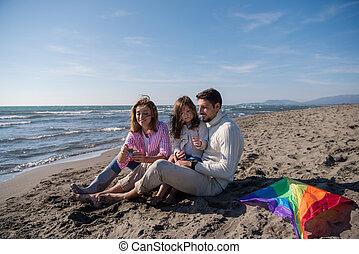 famille, automne, vecation, pendant, apprécier, jour