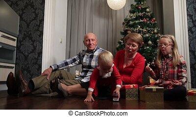 famille, célébrer, joyeux, maison, sourire, noël