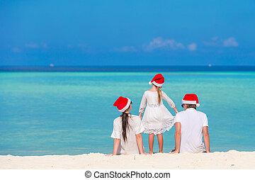 famille, chapeaux, jeune, vacances, santa, pendant, noël