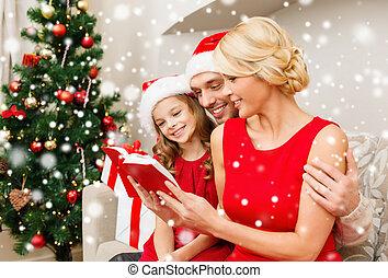 famille, chapeaux, livre, santa, maison, sourire, lecture