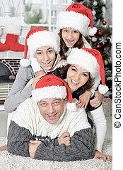 famille, chapeaux, santa, portrait, gosses
