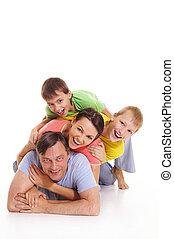 famille, coloré, vêtements