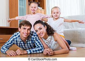 famille, conjugal, décontracté, intérieur