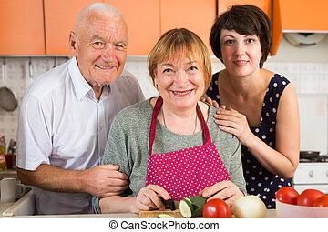 famille, cuisine, heureux