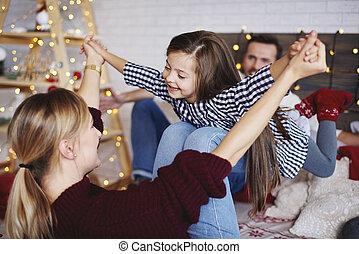 famille, dépenser, lit, ensemble, temps, noël