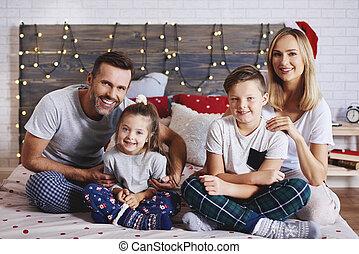 famille, dépenser, lit, matin, portrait, noël