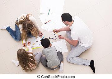 famille, dessin, ensemble, heureux