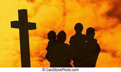 famille, deux, silhouette, traverser par-dessus, enfants, animation, chrétien, nuage